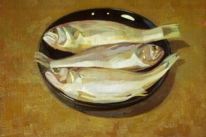 Three Fish on a Black Plate